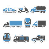 Transport Icons - A set of eighth. Vector illustrations, set silhouettes isolated on white background. Bicolor (blue and gray colors Stock Photos