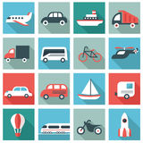 Transport icons. Set of 16 transport icons. Flat design Royalty Free Stock Images