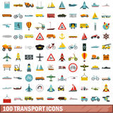 100 transport icons set, flat style. 100 transport icons set in flat style for any design vector illustration Royalty Free Illustration