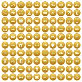 100 transport icons set gold. 100 transport icons set in gold circle isolated on white vector illustration Stock Photography