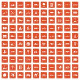100 transport icons set grunge orange. 100 transport icons set in grunge style orange color  on white background vector illustration Royalty Free Stock Photos