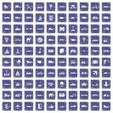 100 transport icons set grunge sapphire. 100 transport icons set in grunge style sapphire color isolated on white background vector illustration Stock Images