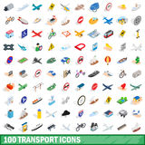 100 transport icons set, isometric 3d style Stock Photos
