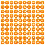 100 transport icons set orange. 100 transport icons set in orange circle isolated on white vector illustration Vector Illustration