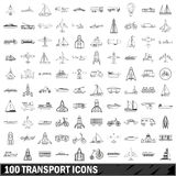 100 transport icons set, outline style Stock Photo