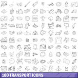 100 transport icons set, outline style. 100 transport icons set in outline style for any design vector illustration Royalty Free Stock Photos