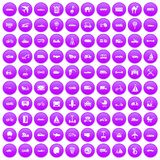 100 transport icons set purple. 100 transport icons set in purple circle isolated on white vector illustration royalty free illustration
