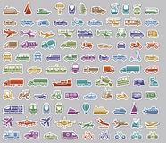 104 Transport icons set retro stickers. Vector illustrations, color silhouettes isolated on gray background royalty free illustration