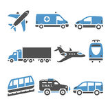 Transport Icons - A set of seventh. Vector illustrations, set silhouettes isolated on white background. Bicolor (blue and gray colors Stock Images