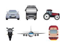 Transport icons. Set of six transport icons. There are car, bus, tractor, motorbike, aeroplane and train. Vector eps format is available Royalty Free Stock Images