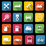 Transport icons. Set of sixteen different transport and automative icons Royalty Free Stock Photography