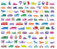 104 Transport icons set stickers. Vector illustrations vector illustration