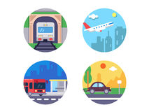 Transport icons set. Train and plane, car and bus. Vector illustration. Pixel perfect icons size - 128 px Royalty Free Stock Photo