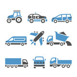 Transport Icons - A set of twelfth. Vector illustrations, set silhouettes isolated on white background. Bicolor (blue and gray colors Royalty Free Stock Photos