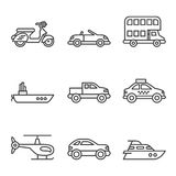 Transport icons, simple and thin line Stock Image
