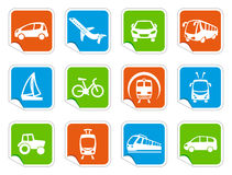 Transport icons on stickers Royalty Free Stock Photo