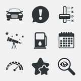 Transport icons. Tachometer and petrol station. Royalty Free Stock Images
