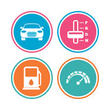 Transport icons. Tachometer and petrol station. Stock Image