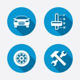 Transport icons. Tachometer and repair tool Royalty Free Stock Photo