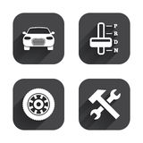Transport icons. Tachometer and repair tool. Stock Photography