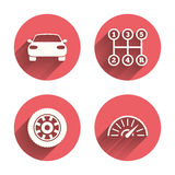Transport icons. Tachometer and wheel signs Royalty Free Stock Photos