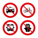 Transport icons. Taxi car, Bicycle, Bus and Ship Royalty Free Stock Photos