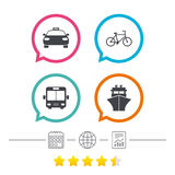 Transport icons. Taxi car, Bicycle, Bus and Ship. Stock Photo