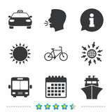 Transport icons. Taxi car, Bicycle, Bus and Ship. Transport icons. Taxi car, Bicycle, Public bus and Ship signs. Shipping delivery symbol. Family vehicle sign Stock Image