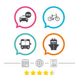 Transport icons. Taxi car, Bicycle, Bus and Ship. Stock Image