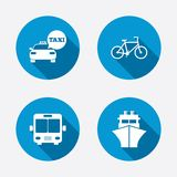 Transport icons. Taxi car, Bicycle, Bus and Ship Stock Photos