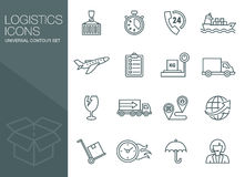 Transport icons, thin line style, flat Royalty Free Stock Photo