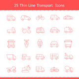Transport icons Thinline Stroke Royalty Free Stock Photography
