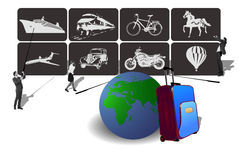 Transport Icons for travel. Vector illustration of icons of transport for travel and hard choices Stock Image