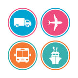 Transport icons. Truck, Airplane, Bus and Ship. Stock Photos