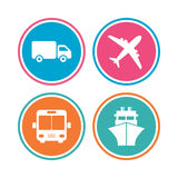 Transport icons. Truck, Airplane, Bus and Ship. Royalty Free Stock Photography