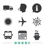 Transport icons. Truck, Airplane, Bus and Ship. Transport icons. Truck, Airplane, Public bus and Ship signs. Shipping delivery symbol. Air mail delivery sign Stock Photos