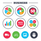 Transport icons. Truck, Bicycle, Bus and Ship. Business pie chart. Growth graph. Transport icons. Truck, Bicycle, Public bus with driver and Ship signs Stock Image