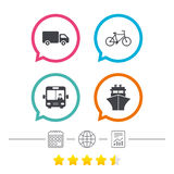 Transport icons. Truck, Bicycle, Bus and Ship. Stock Images