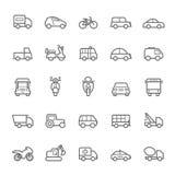 Transport icons on White BackgroundTransport icons Outline Stroke on White Background Royalty Free Stock Photo