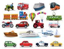 Transport ikon kolekcja odizolowywająca na białym tle royalty ilustracja