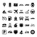 30 Transport-Ikonen Stockfotografie