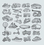 Transport-Ikonen-Skizze Lizenzfreies Stockbild