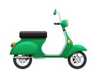 Transport. Illustration of Isolated Green Scooter. Fast mean of transportation with one headlight in front of it. Silver discus in black tire. Two-wheeled Royalty Free Stock Image