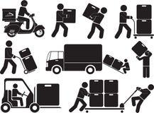 Transport. Illustration - Porter man icons set Stock Image