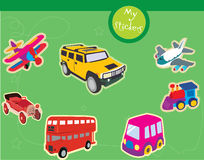 Transport illustrations. Sticker like illustrations of means of transport Royalty Free Stock Image