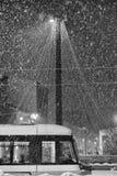Transport im verschneiten Winter Lizenzfreies Stockfoto