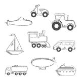 Transport and industrial sketched icons Stock Photography