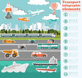 Transport infographics elements. Cars, trucks, public, air, wate Stock Image