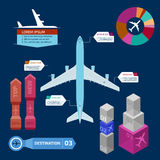 Transport infographics. Jet airplane and info graphics elements on dark blue background Stock Images
