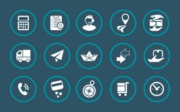 Transport information in a set of icons vector illustration